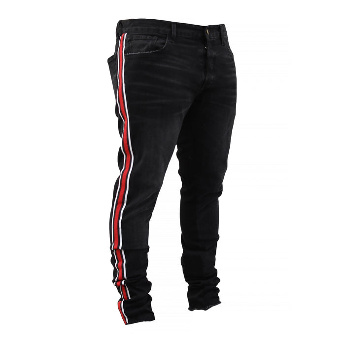 THE TRACK JEANS - BLACK/RED