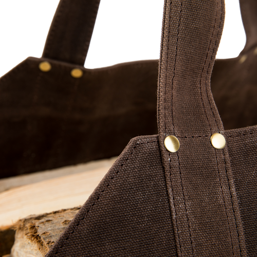 Sturdy Waxed Canvas Firewood Haul Bag