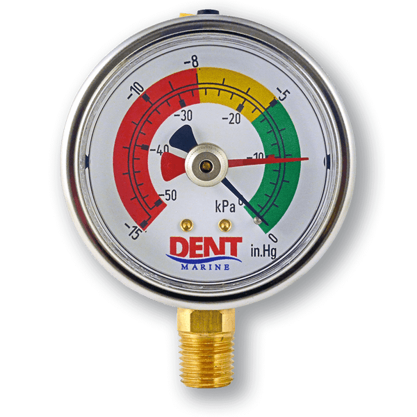 Diesel fuel filter vacuum gauge by Dent Marine