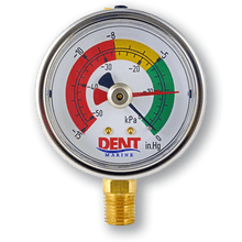 Dent Marine MD-15V Industrial Grade Vacuum Gauge for Marine Fuel Systems