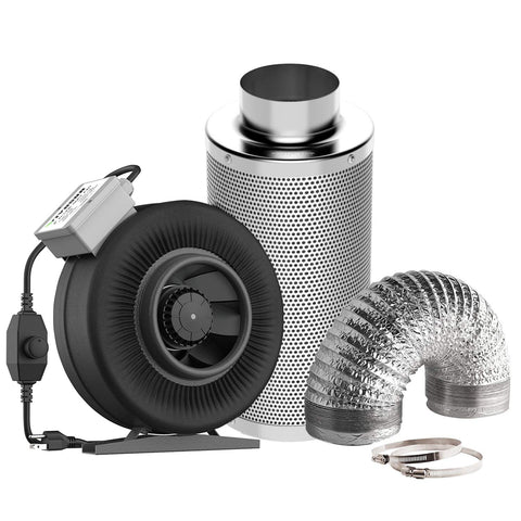 Best Air Carbon Filter Kit Fan 8 Feet of Duct 4 inch
