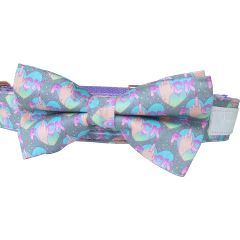 Flipping the bird dog collar  with removable bow tie - J'dore