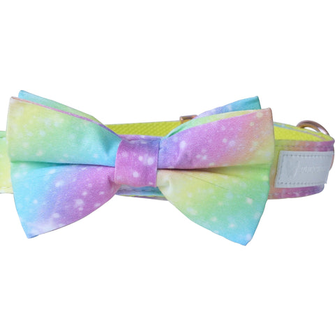 Dog collar and bow-tie: Galactic rainbow - J'dore