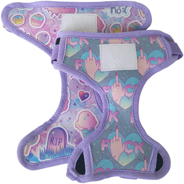 Reversible dog harness: pastel goth/flip the bird - J'dore