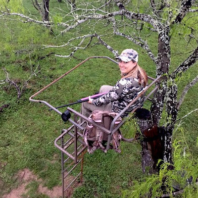Rhonda hunting at stand with Onca Gear