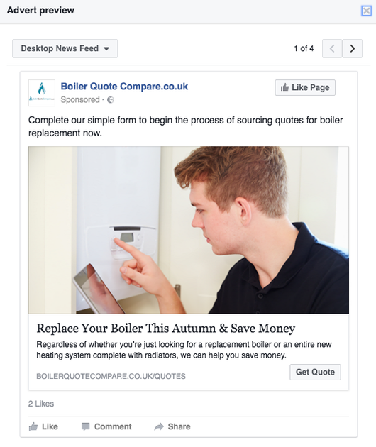Boiler Quote client - Facebook Retargeting (website + email)