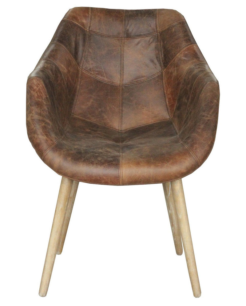 Mackenzie Dining Chair-Distressed Brown Leather - 2003-2018 Homestead Furniture All Rights Reserved