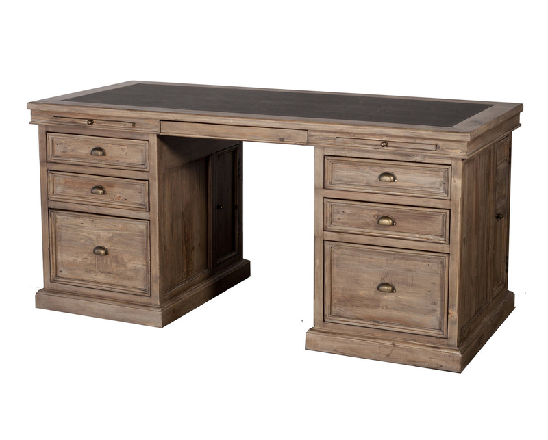 Settler Double Pedestal Desk - Sundried - 2003-2018 Homestead Furniture All Rights Reserved