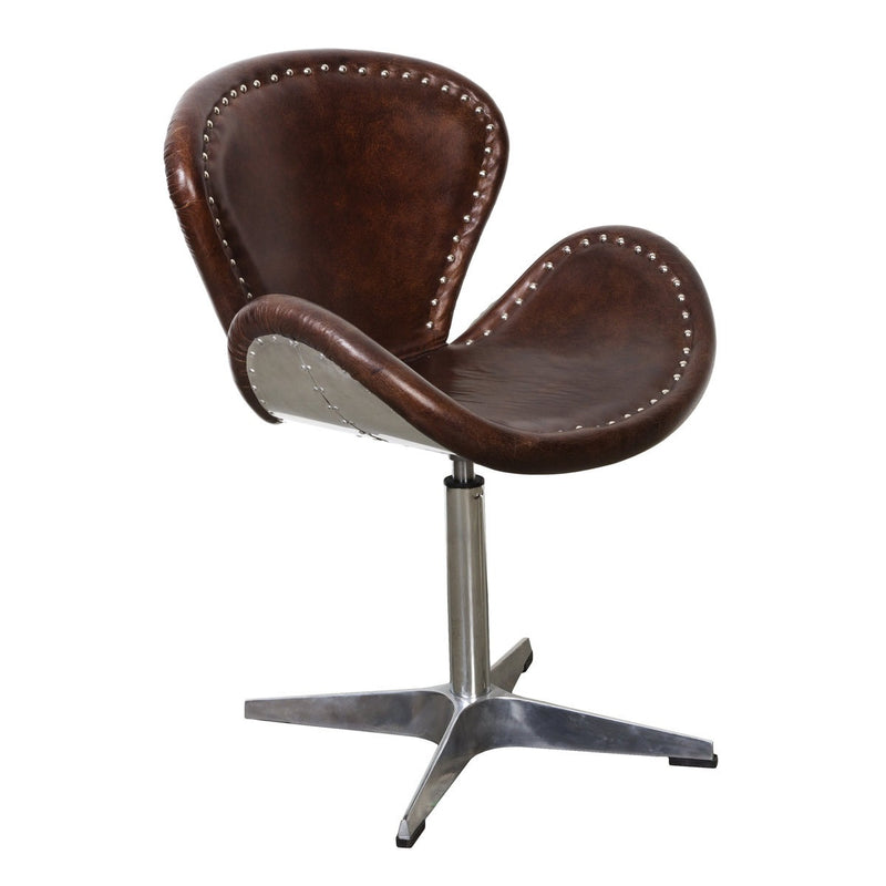Mercury Swivel Chair - Brown Vintage Leather - 2003-2018 Homestead Furniture All Rights Reserved