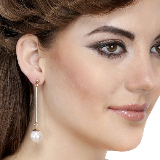 Fashion Fabulous Statement White Long Pearl Drop Earrings - fayonfashion.com