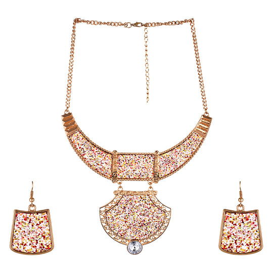 Fayon Chunky Fashion Multicolor Sparkly Pendant Set With Earring