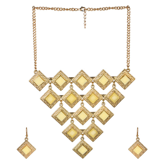 Fayon Fabulous Statement Golden Triangle Pendant Set With Earring