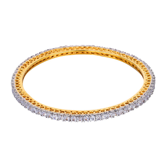 Fayon Ethnic Jewellery White Crystal Simple Bangle Set