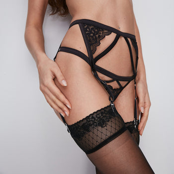 Elegant Lace Garter Belt and Thong Set, with Thigh High Hold Ups