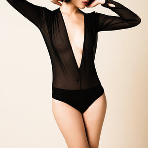 Grid Girl - Sheer Long Sleeve Bodysuit