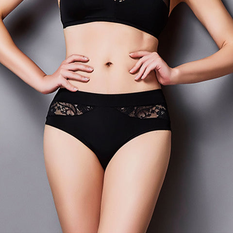 Scandalous Brief - Full Panty, Lace with Black Thong Effect Silhouette