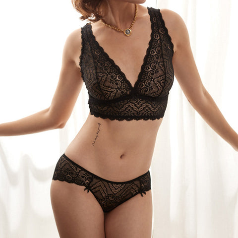 Elegant Lady - Lace Detail Bralette and Panty Set