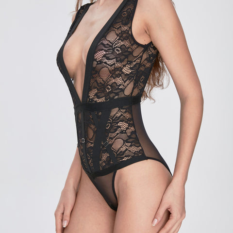 Bondage Lady - Black Lace Bodysuit with Bondage