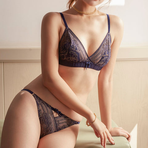 Elegant Sapphire Sexy Lace and dot mesh Padded Bralette and Thong Set
