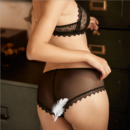La Vie Nue Play With Me Black Bralette and Panty Set Back Panty View