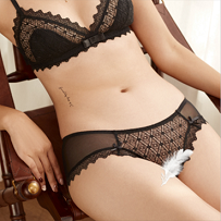 La Vie Nue Play With Me Black Bralette and Panty Set Front View