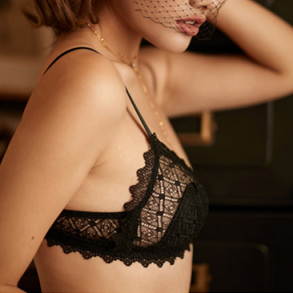 La Vie Nue Play With Me Black Bralette and Panty Set Side View