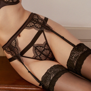 Little French Tease - Lace Garter Belt, Thong, Hold Ups Set