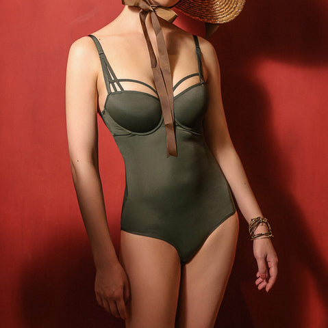 Vintage Chic - Dark Green Bodysuit with Padded Bra Support