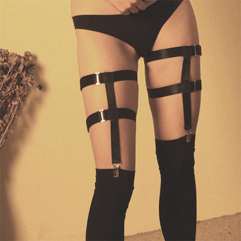 Special touch - the garter belt for leg with thigh high tights