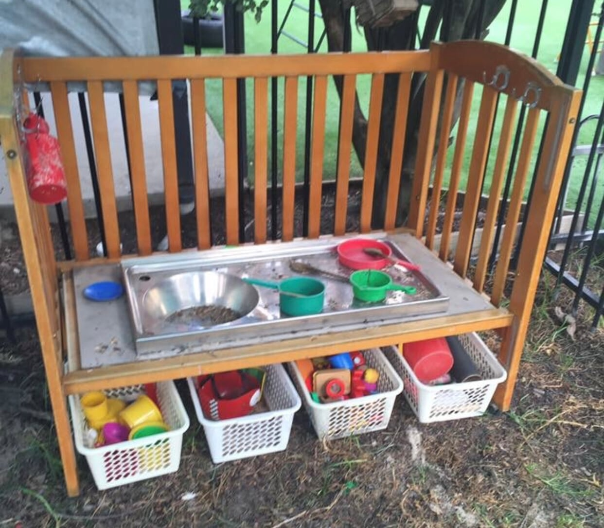recycled cot mud kitchen