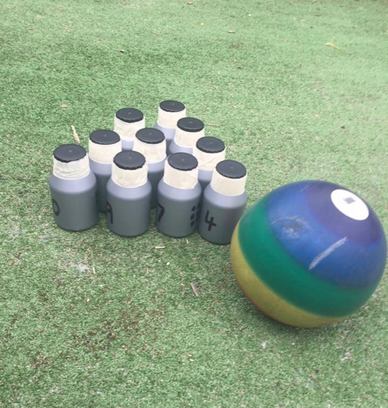 recycled bottle tenpin bowling game