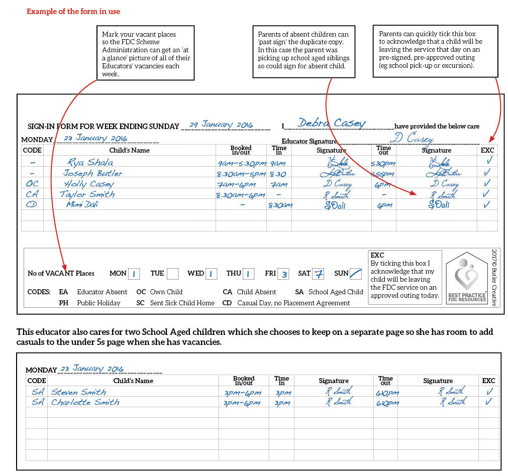 Weekly Attendance and Sign-In Duplicate Book for Family Day Care