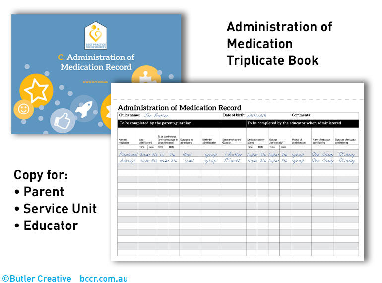 C: FDC Administration of Medication Record Triplicate Book - Butler Creative Childcare Resources