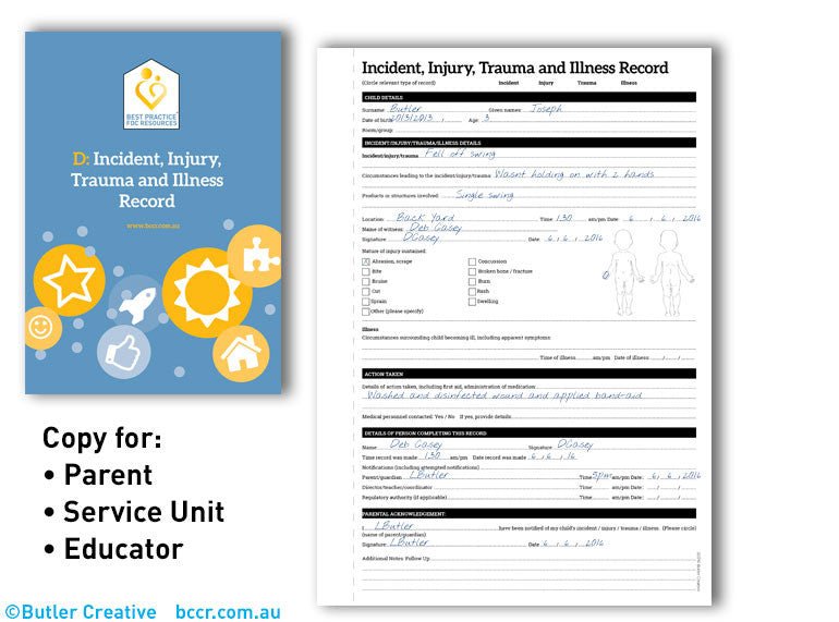 D: FDC Incident, Injury, Trauma and Illness Record Triplicate Book - Butler Creative Childcare Resources