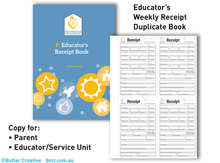 F: FDC Educator Receipt Duplicate Book - Butler Creative Childcare Resources