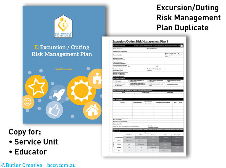 Excursion Risk Management Plan Duplicate Book For Family Day Care