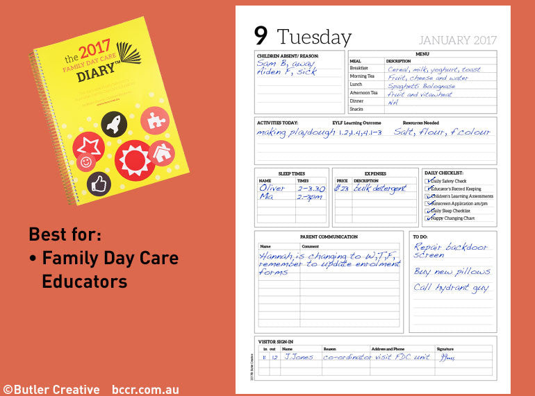 Family day care diaries 2017 family daycare diary - Family days enero 2017 ...