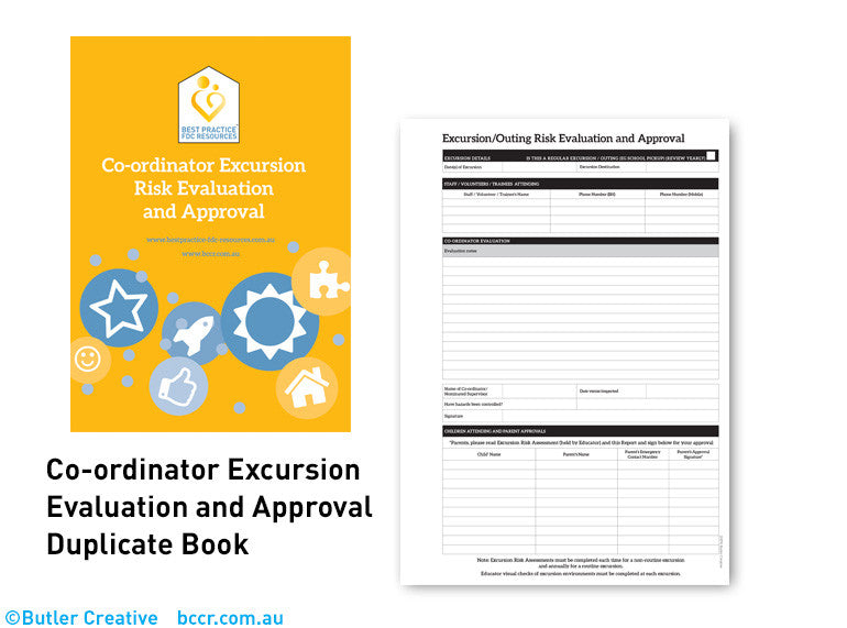G: FDC Co-ordinator Excursion Approval Duplicate Book - Butler Creative Childcare Resources