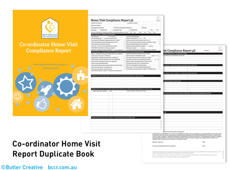 H: FDC Co-ordinator Home Visit Duplicate Book - Butler Creative Childcare Resources