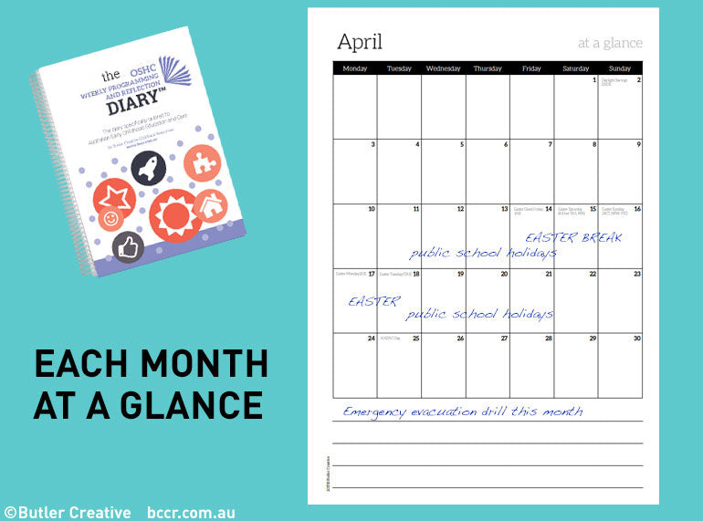 PREORDER 2021 OSHC Weekly Programming & Reflection Diary - Butler Creative Childcare Resources