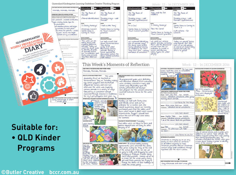 2020 QLD Kindy Weekly Programming & Reflection Diary - 6 Month Version - Butler Creative Childcare Resources