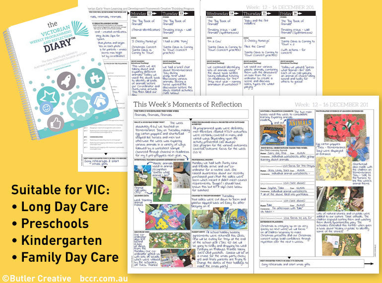 2019 VIC Weekly Programming and Reflection Diary - Butler Creative Childcare Resources