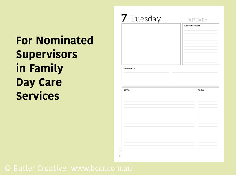 PREORDER 2021 FDC-based Nominated Supervisor Diary - Butler Creative Childcare Resources