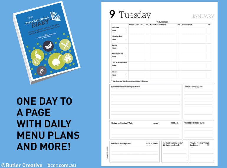 2021 Early Childhood Cook's Diary - Butler Creative Childcare Resources