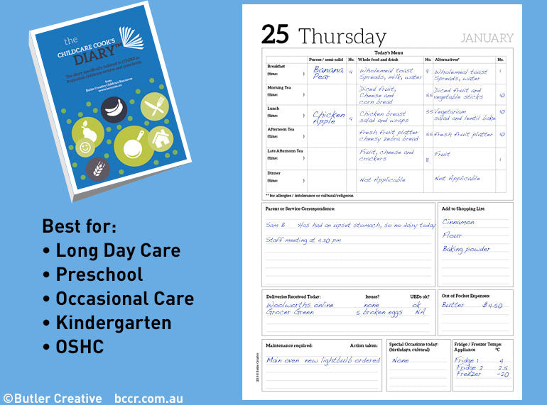 PREORDER 2021 Early Childhood Cook's Diary - Butler Creative Childcare Resources