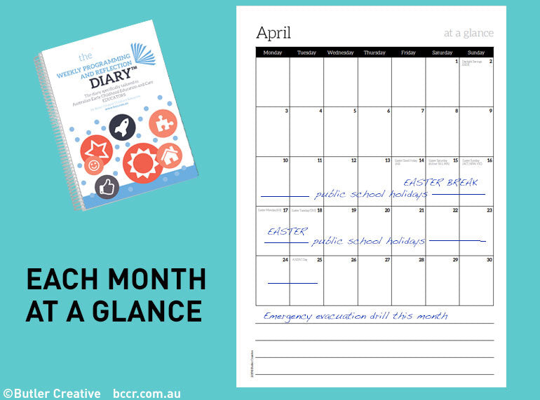 PRE-ORDER 2021 (7 DAY) Weekly Programming and Reflection Diary (Calendar Year) - Butler Creative Childcare Resources