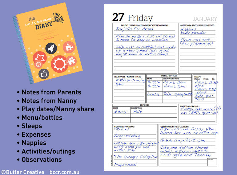 PREORDER 2021 The Australian Nanny / In Home Care Diary - Butler Creative Childcare Resources