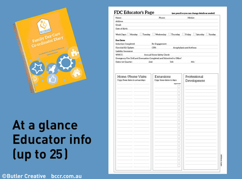 PREORDER 2021 Family Day Care Co-ordinator Diary - Butler Creative Childcare Resources