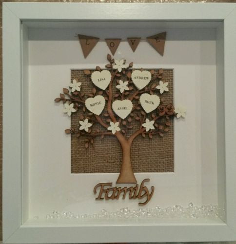 Personalised* Wooden MDF FAMILY TREE FRAME. Unique keepsake gift ...