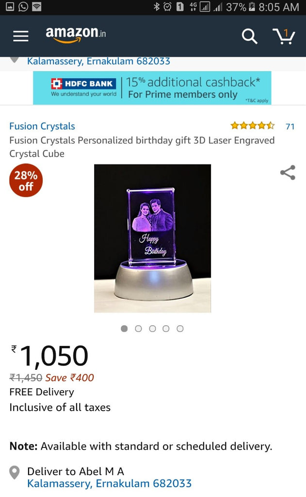 Top Selling 3D Crystal Personalised Gift On Amazon